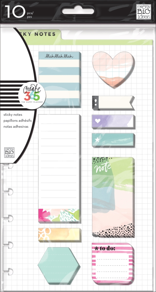 'Watercolor'+Sticky+Notes+for+The+Happy+Planner™+_+me+&+my+BIG+ideas
